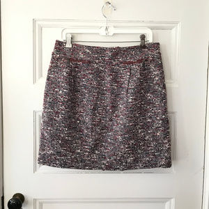 Loft Gray  Red Ivory Tweed A Line Skirt